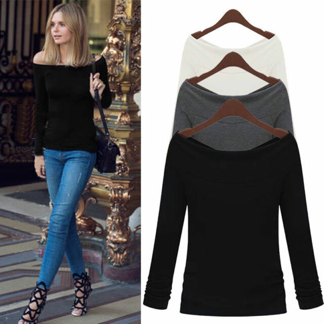 Women Sexy Off Shoulder Casual Long Sleeve Slim T-Shirt Top Blouse Size S M L XL
