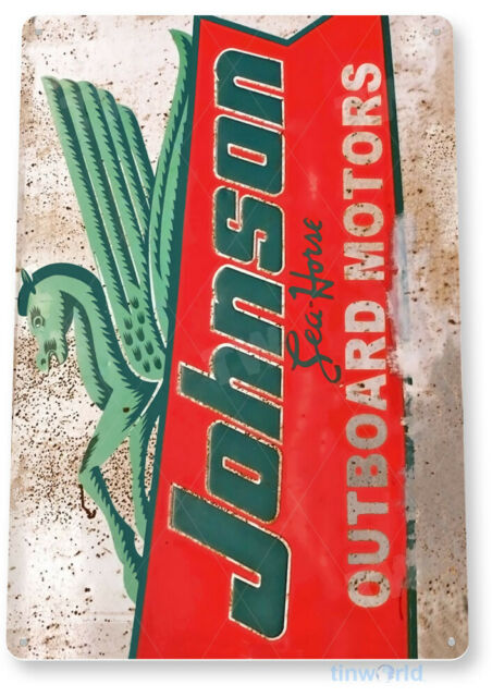 Johnson Outboard Motor Sign, Engine Rustic Retro Boat Motor Tin Sign B276