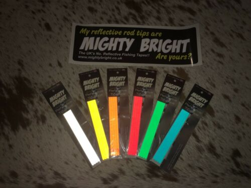 """12/""""//305mm Original Range for sea fishing rod Mighty Bright Réfléchissant tip Tape"""