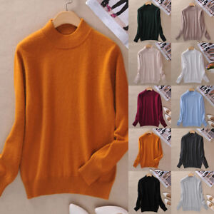 Women-Cashmere-Sweater-Autumn-Winter-Knitted-Turtleneck-Pullover-Warm-Jumper-US