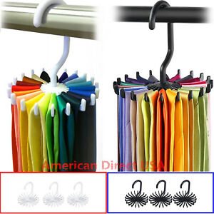 20-Rotating-Tie-Rack-Hanger-Organizer-Twirling-Scarf-Belt-Tie-Hook-Holder-Ties