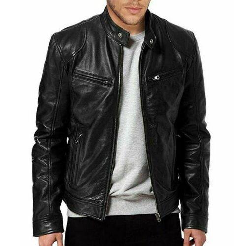 Men/'s Leather Jacket Stand Collar Zipper Coat Motorcycle Slim Fit Biker Overcoat