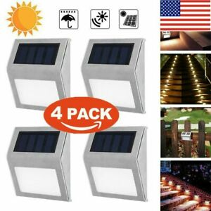 4X Solar 6 LED Stainless Steel Garden Pathway Patio Step Stair Deck Lamp Light