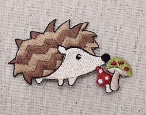 Woodland hedgehog mushrooms animals pets embroidered patch iron