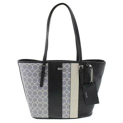 Nine West 3660 Womens Ava Gray Faux Leather Tote Handbag Purse Large BHFO