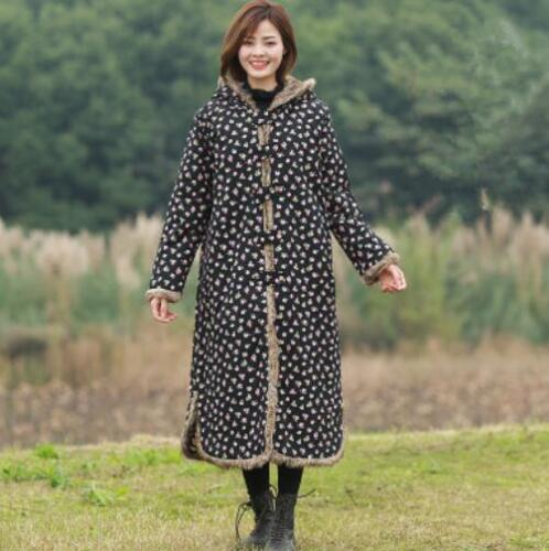 Long Outwear Floral Hot Coat pelsforing Maxi Jackets Parka Women etnisk Winter qtaTOO