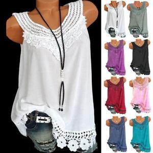 Womens-Summer-Loose-Sleeveless-Vest-T-Shirt-Blouse-Lady-Boho-Lace-Tops-Plus-Size