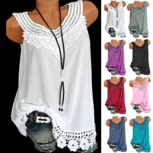 Womens Summer Loose Sleeveless Vest T Shirt Blouse Lady Boho Lace Tops Plus Size