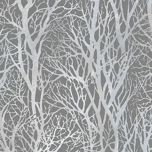 Image Is Loading Life 3 Silver And Grey Woodland Trees Wallpaper