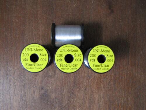 Fine//Clear Fly Tying Uni Mono//Size .004 200yds.