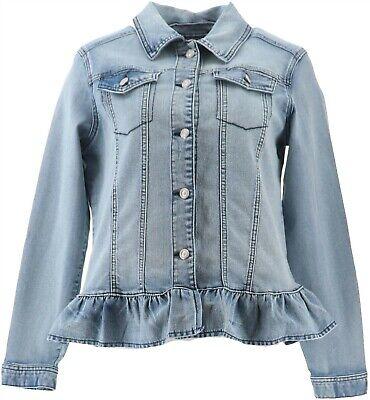 Liberal Dg2 Diane Gilman Ruffled-hem Stretch Denim Jacket Midtone M New 688-254 Sale Overall Discount 50-70%