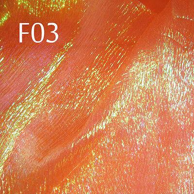 F03 PER YARD Orange w/Lime reflex Shiny Iridescent Crinkle Sheer Organza Fabric