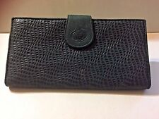VTG! FROM MACY'S GENUINE LEATHER~BIFOLD w/ COIN PURSE GREEN WALLET~MADE IN ITALY