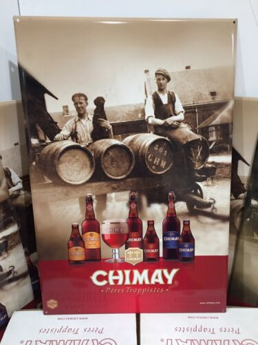 CHIMAY 23.5 X 15.5 Peres Trappistes Tin Metal Sign Embossed Beer Ale Brewery NEW
