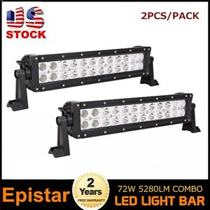 2pcs 14in 72W Spot Flood Led Light Bar Driving Lamp 4WD Boat SUV ATV FOG Screws