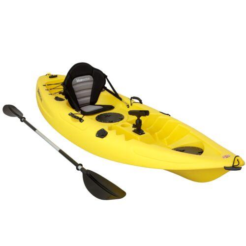 YELLOW KAYAK SIT ON TOP FISHING SEA RIVER KAYAKS BEST DELUXE SEAT /& PADDLE SET