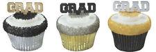 Grad Silver Gold Black Graduation cupcake picks (24) favor cake topper 2 doz