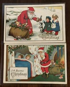 Lot-of-2-Colorful-Santa-Claus-with-Children-Antique-Christmas-Postcards-a-100