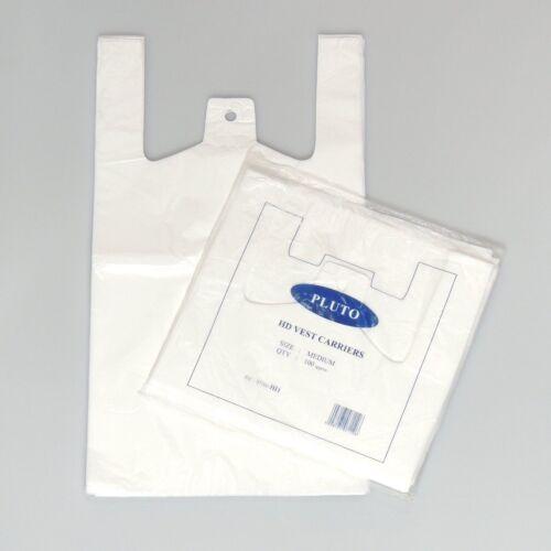 """Ligero * 1000 X Pequeño Chaleco De Plástico Blanco carrier bags 10x15x18/"""" Pluto"""
