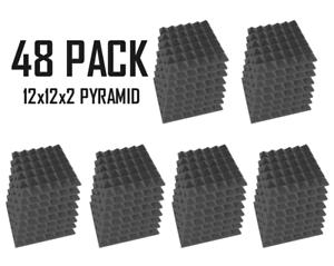 Acoustic Foam 48 Pack GREY Pyramid Sound Recording Studio Tile12x12x2 inch