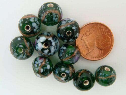 10 perles Rondes 9mm verre lampwork couleur au choix motifs blancs et doré