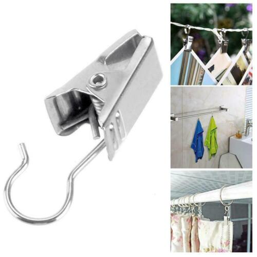 Stainless Steel Curtain Rod Hook Clips Window Shower Rings Curtain Clamps L6L1
