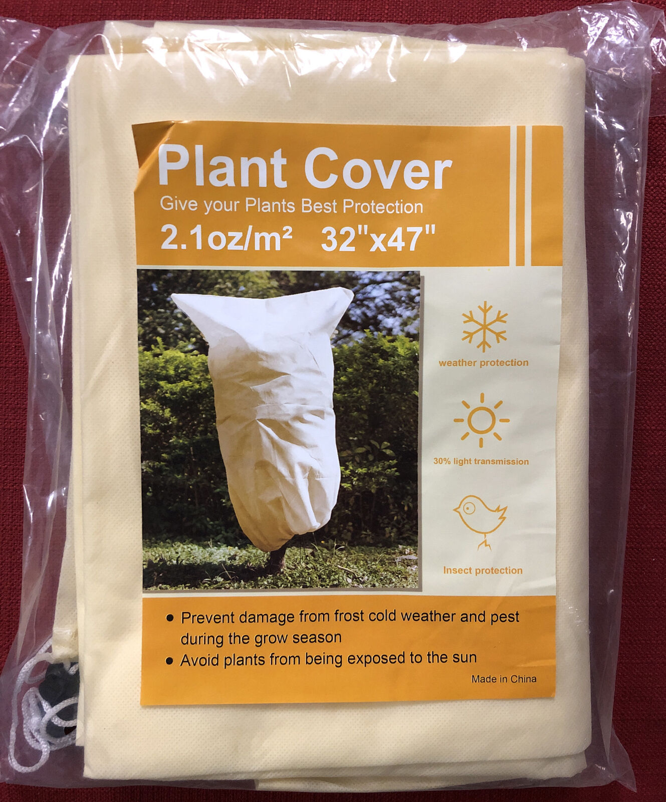 2 Pack 32 X 47 inches Plant Covers Frost - Freeze Bird Protection; Drawstrings