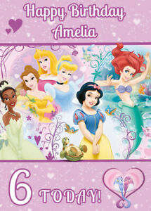 Disney Princesses Princess Personalised Birthday Card Add Your