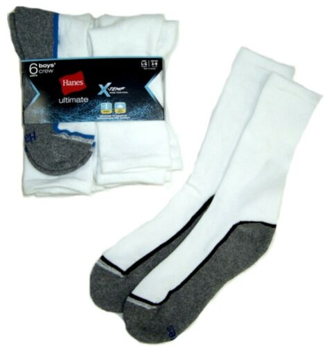 Hanes Boys Ultimate 6 Pack of Crew Socks NWT Black or White  Size   M 9-2.5