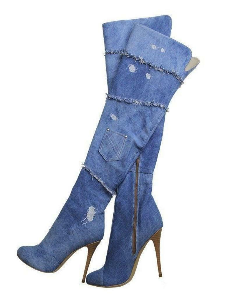 New Women Over the Knee Boots High Heel Denim Boots Zip Pointed Toe Jeans Shoes