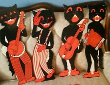 JUST BACK! 4 VINTAGE-1950S-STYLE-BEISTLE HALLOWEEN BLACK🐱SCAT CAT BAND DIECUTS!
