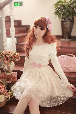 Brand New Korean Style Pearl Soft Lace Bow Belt Leggings Princess Dress Top XS