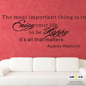 Adesivi Murali Audrey Hepburn.Wall Stickers Audrey Hepburn Quote Enjoy Life Be Happy Art Decal