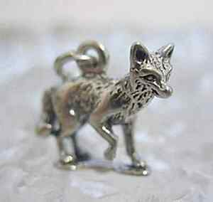 LOOK-3D-Solid-Sterling-silver-925-Fox-animal-charm-jewelry
