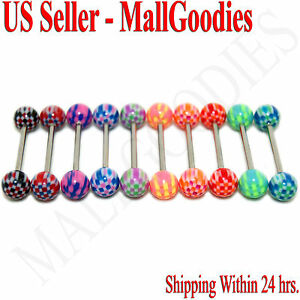 W052-Acrylic-Tongue-Rings-Bars-Barbells-Checkered-Design-Pattern-5-8-034-LOT-of-10