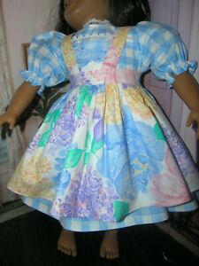 Blue-Plaid-Dress-Flower-Print-Apron-2-piece-Dress-23-034-Doll-clothes-fits-My-Twinn