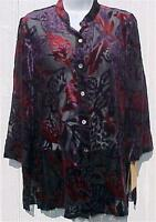 Ladies Size 10 Shirt Laser Cut Velvet Black Burgundy Purple Ruby Rd Tags