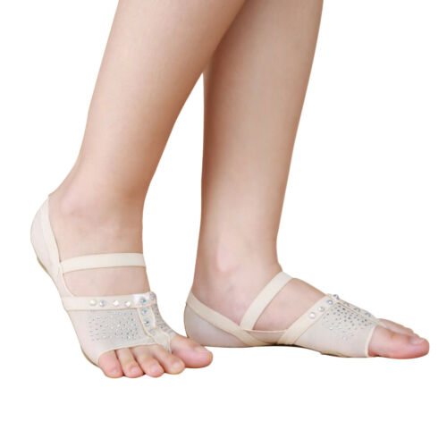 Pair Women Dance Shoes Lyrical Forefoot Pads Bare Foot Thongs Fitness New