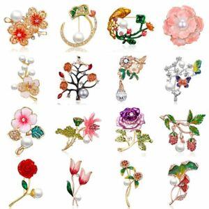 857f21763 Image is loading Rhinestone-Crystal-Pearl-Flower-Brooch-Pin-Wedding-Bridal-