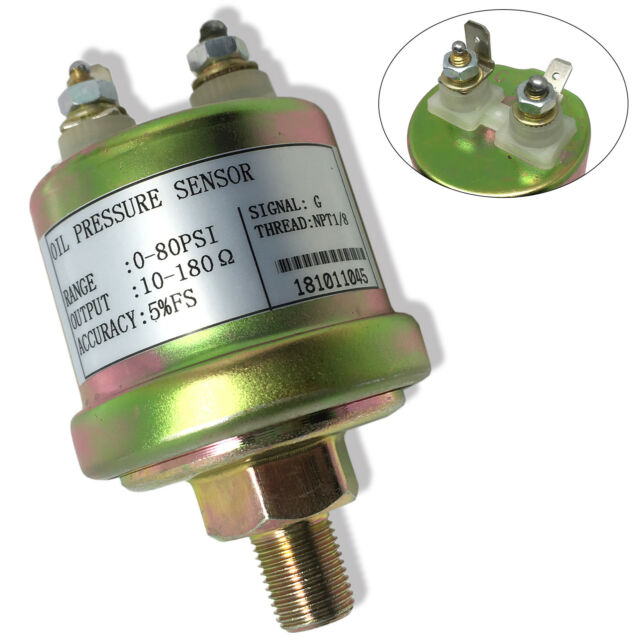 Oil Pressure Sender, VDO type, 0-80 psi, 10-180 ohms, w/16 psi Low Alarm  switch