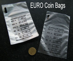 Image Is Loading 100 X Plastic Money Euro Coin Bank Bags