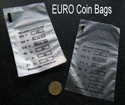 a381a2c989 100 x Plastic Money / EURO Coin / Bank Bags - No Mixed Coins - New and  Reusable | eBay