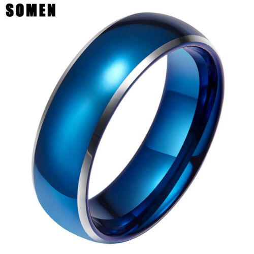 8MM Simple Style Blue and Silver Color Tungsten Rings Fashion Man Wedding Bands