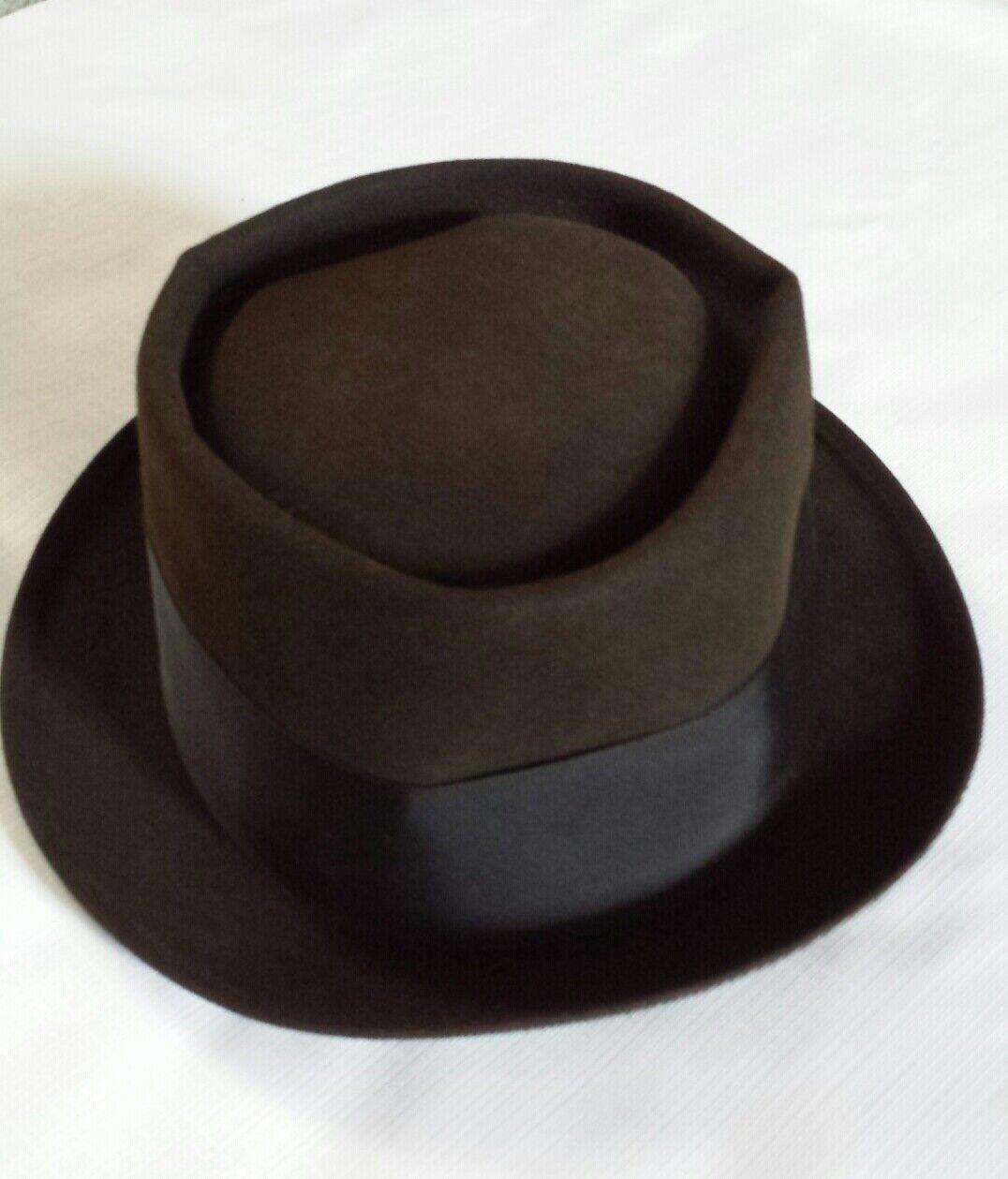 Vintage Mallory Pork Pie Style Felt Hat Size 7 1/8 - image 2
