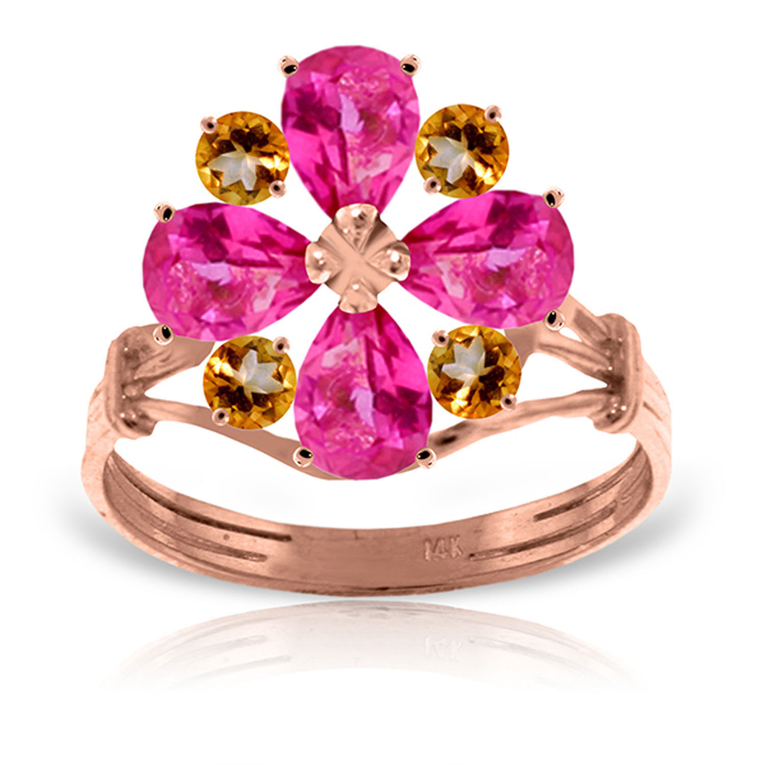 Brand New 14K Solid pink gold Ring with Natural Pink Topaz & Citrine