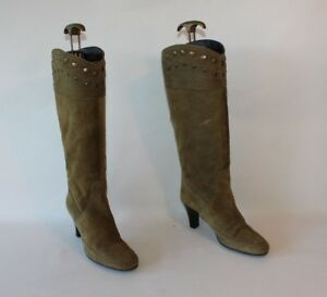 Knee Round Khaki Boots 4 Calf Pull High Size Suede Toe On 37 Nilson Mid Studs zFqUxT4Zw