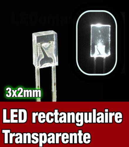 Rectangular LED White 325BL//25# LED rectangulaire 3x2 Blanche 25pcs