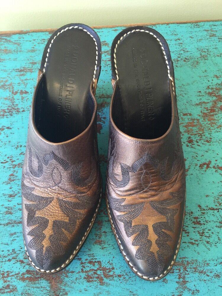 Donald J Pliner Western Cowboy Mules SlipOns Meta… - image 2