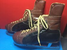 VINTAGE 1960S SAMSON MENS LEATHER ICE HOCKEY SKATES ACE PRO SZ 11 MADE IN CANADA
