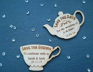 save the date teapot tea party wood wedding engraved fridge magnets